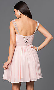 Image of short white sweetheart party dress with corset back. Style: DQ-9472w Back Image