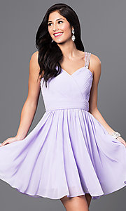 Image of short white sweetheart party dress with corset back. Style: DQ-9472w Detail Image 1
