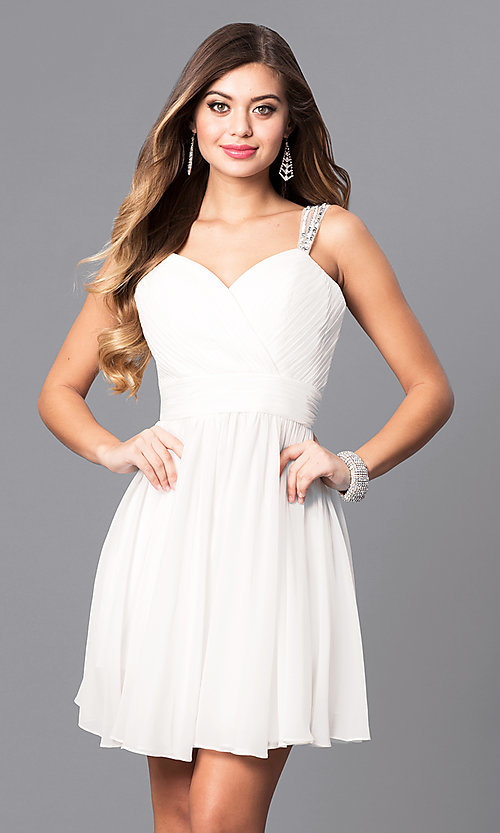 Image of short white sweetheart party dress with corset back. Style: DQ-9472w Front Image