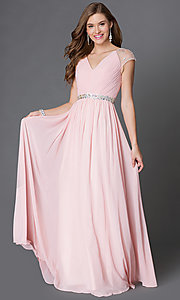 Image of long white v-neck formal dress with cap sleeves. Style: DQ-9182w Detail Image 3