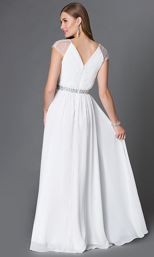 Image of long white v-neck formal dress with cap sleeves. Style: DQ-9182w Back Image