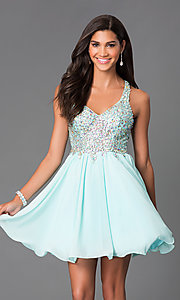 Image of mint chiffon party dress with jeweled lace bodice. Style: DQ-8997m Front Image