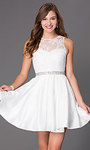 Image of short ivory white party dress with illusion bodice. Style: PO-7214i Front Image