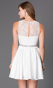 Image of short ivory white party dress with illusion bodice. Style: PO-7214i Back Image