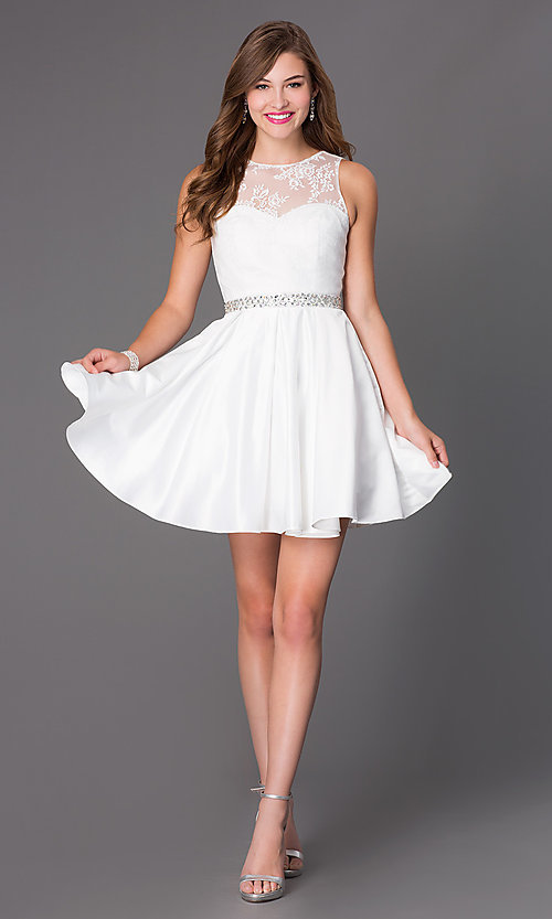 Image of short ivory white party dress with illusion bodice. Style: PO-7214i Detail Image 1