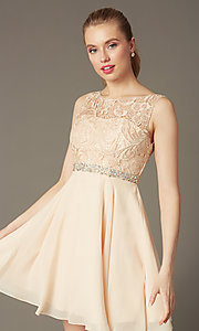 Short champagne ivory semi-formal graduation dress. Style: DQ-9659c Front Image