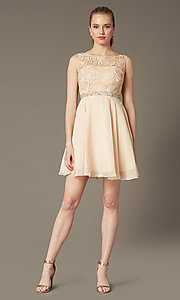 Short champagne ivory semi-formal graduation dress. Style: DQ-9659c Detail Image 1