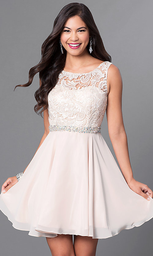 Semi-Formal Short Champagne Grad Dress - PromGirl