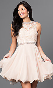 Image of short graduation party dress in champagne ivory. Style: DQ-9467c Front Image