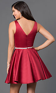 Image of short homecoming party dress with jeweled waist. Style: DQ-9504c Back Image