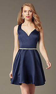 Image of short homecoming party dress with jeweled waist. Style: DQ-9504c Detail Image 3