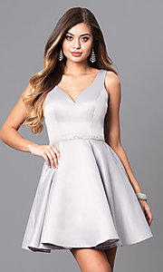 Image of short homecoming party dress with jeweled waist. Style: DQ-9504c Front Image