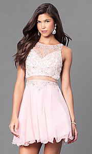 Image of blush pink mock two-piece short party dress with beads. Style: DQ-9550b Front Image