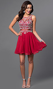 Image of blush pink mock two-piece short party dress with beads. Style: DQ-9550b Detail Image 3