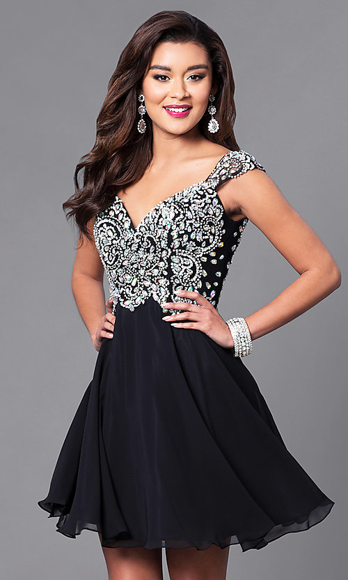 Image of short party dress with jeweled lace bodice in blush. Style: DQ-9160b Detail Image 1