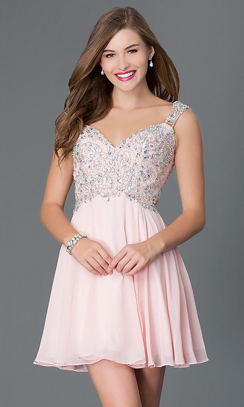 Image of short party dress with jeweled lace bodice in blush. Style: DQ-9160b Front Image