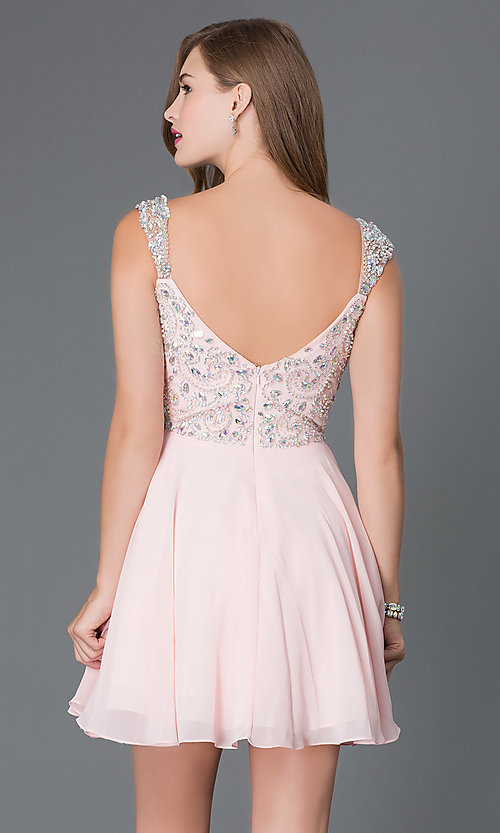 Image of short party dress with jeweled lace bodice in blush. Style: DQ-9160b Back Image