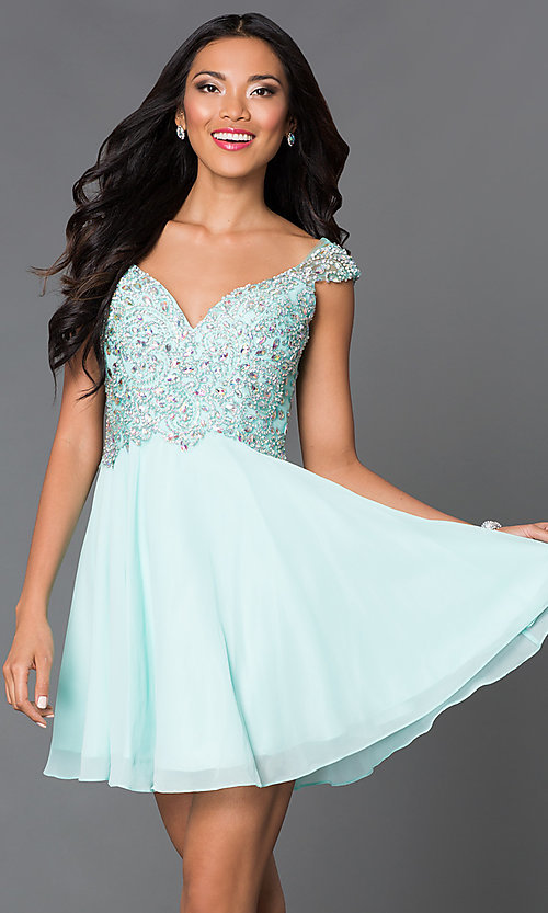 Image of short party dress with jeweled lace bodice in blush. Style: DQ-9160b Detail Image 3
