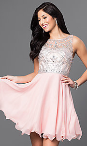 Image of blush pink short party dress with beaded bodice. Style: DQ-9523bl Front Image