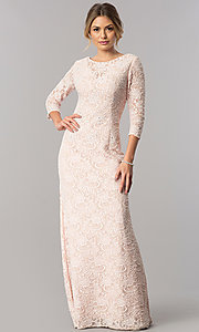 Image of sleeved long mother-of-the-bride lace formal dress. Style: AX-1121764 Detail Image 1