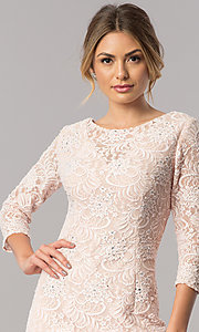 Image of sleeved long mother-of-the-bride lace formal dress. Style: AX-1121764 Detail Image 2