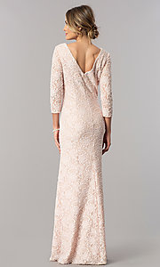 Image of sleeved long mother-of-the-bride lace formal dress. Style: AX-1121764 Detail Image 3