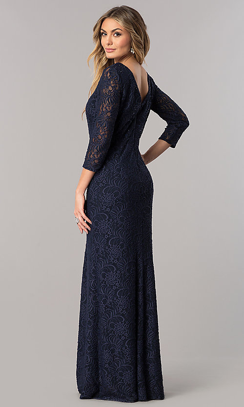 Image of sleeved long mother-of-the-bride lace formal dress. Style: AX-1121764 Back Image