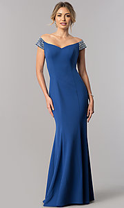 Image of long off-the-shoulder mother-of-the-bride dress. Style: AX-160116 Detail Image 1