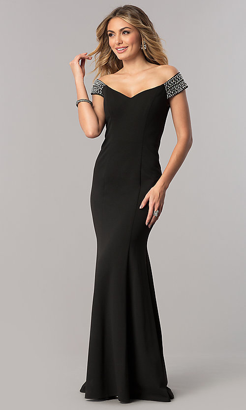 Image of long off-the-shoulder mother-of-the-bride dress. Style: AX-160116 Front Image