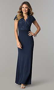 Navy Blue V-Neck Long Mother-of-the-Bride Dress