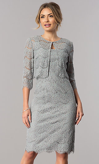 Short Lace Wedding Guest Dress with Jacket