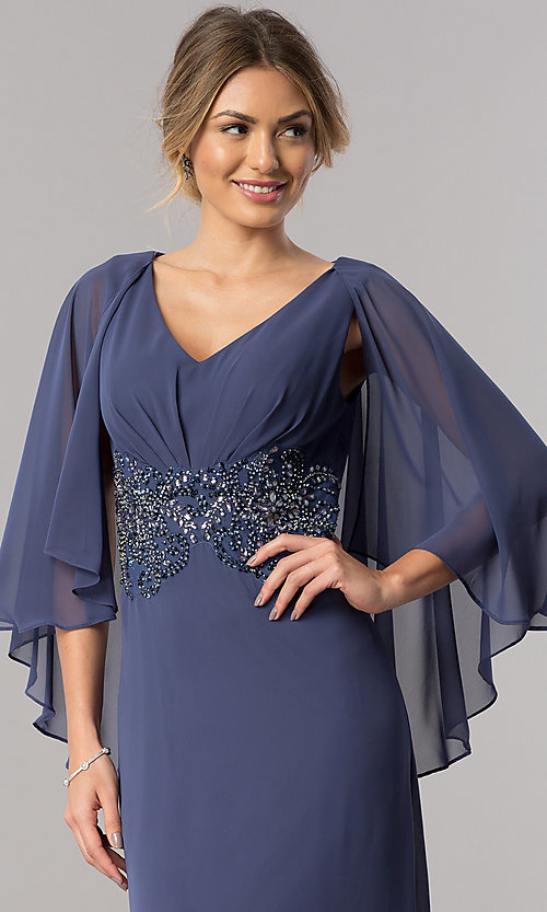 Image of beaded-waist long wedding-guest dress with cape. Style: AX-170905 Detail Image 1