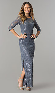 Sequined-Lace Long Silver Formal Dress with Sleeves