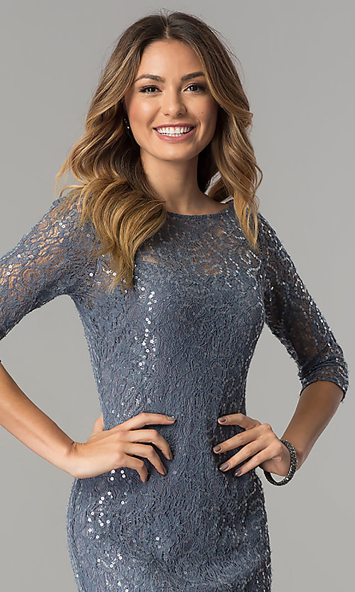 Image of sequined-lace long silver formal dress with sleeves. Style: AX-1121703 Detail Image 1