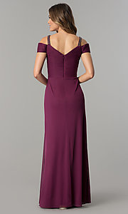 Image of long mother-of-the-bride/groom dress with ruching. Style: AX-132871 Back Image
