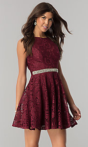 Image of burgundy lace short party dress with jeweled waist. Style: LP-27236 Front Image
