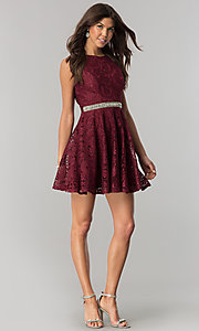 Image of burgundy lace short party dress with jeweled waist. Style: LP-27236 Detail Image 1
