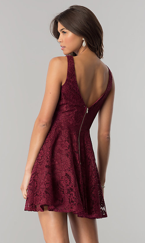 Image of burgundy lace short party dress with jeweled waist. Style: LP-27236 Back Image