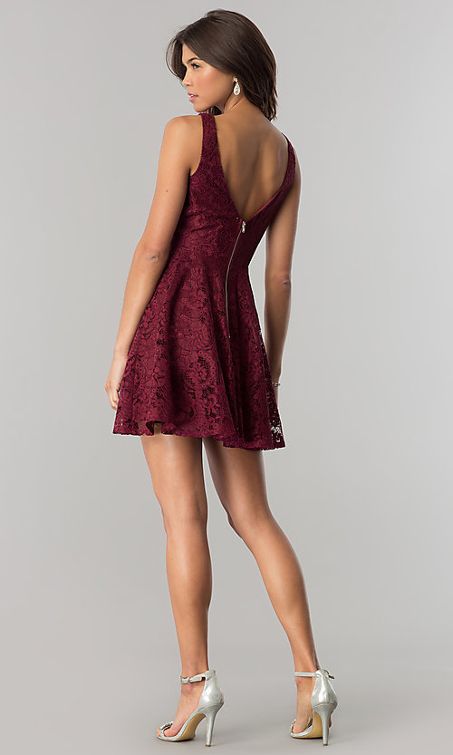 Image of burgundy lace short party dress with jeweled waist. Style: LP-27236 Detail Image 2
