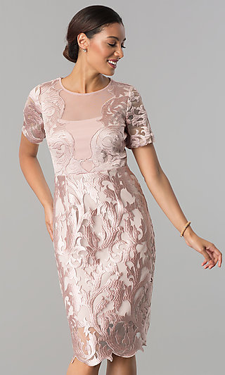 Knee-Length Embroidered Brocade Wedding Guest Dress