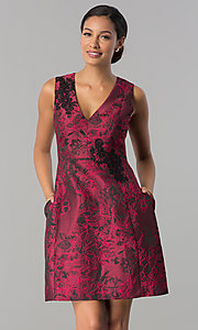 Image of floral-print v-neck wedding guest dress with pockets. Style: JX-1ZWQ173J Front Image