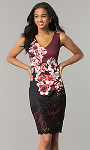 Wine Red and Black Party Dress with Floral Print