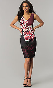 Image of wine red and black party dress with floral print. Style: JX-1ZWP135H Detail Image 1