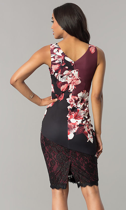Image of wine red and black party dress with floral print. Style: JX-1ZWP135H Back Image