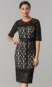 Wedding-Guest Lace Dress with Elbow-Length Sleeves