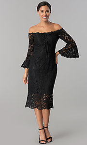 Image of off-the-shoulder black lace midi wedding-guest dress. Style: JX-1ZWD269Q Front Image