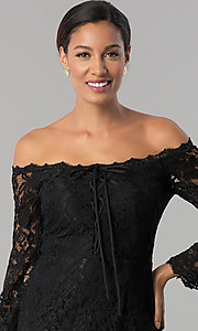 Image of off-the-shoulder black lace midi wedding-guest dress. Style: JX-1ZWD269Q Detail Image 1