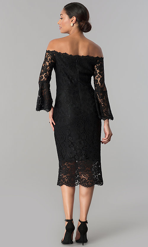 Image of off-the-shoulder black lace midi wedding-guest dress. Style: JX-1ZWD269Q Back Image