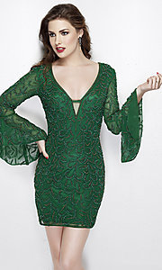 Short Beaded Homecoming Dress with Bell Sleeves