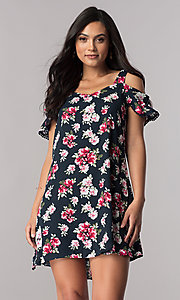 Image of short navy blue casual shift dress with floral print. Style: VE-885-211103-1 Front Image